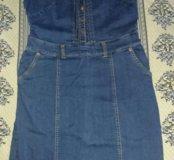 Платье джинс,  новое, стрейч.р.48