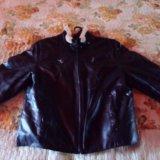 Зимняя кожанная куртка с натуральной овчиной