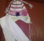Зимняя шапка и шарф на 4-5лет