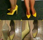 Яркие жёлтые туфли на каблуке