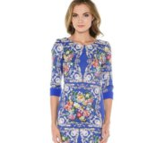 Платье футляр синее в цветок