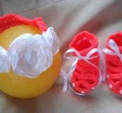 Пинетки и повязка из детских ниток