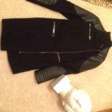 Пальто с кожаными вставками Asos