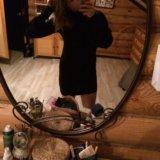 Чёрное платье(мини) с объемными рукавами и горлом