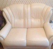 Натуральный кожаный диван