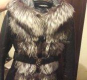 Зимняя кожаная куртка с поясом