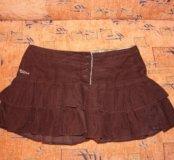 Велюровая юбка с рюшами