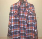 Рубашка в клетку оранжевая