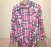 Рубашка в клетку розовая