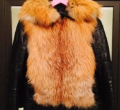 Зимняя куртка натуральная кожа, мех лисы, подкладк