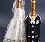 Аксессуары  на свадьбу на бутылки шампанского