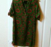 Платье из натурального шелка с ремнём (розовый)