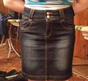 Юбка джинсовая.темно синяя