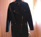 Пальто женское с кожаными вставками