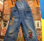 Утеплённый джинсовый полукомбенизон