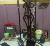 Кованный каминный набор,совок,кочерга,щетка