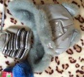 Шапка 48 размер и варежки ( зима)