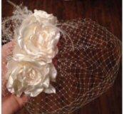 Свадебная карнавальная  шляпка вуалетка