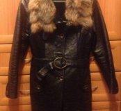 Кожаная дубленка -пальто