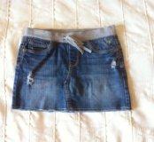 Стильная джинсовая мини-юбка с внутренними шортами