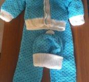 Детский вязаный тёплый костюмчик