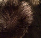 Пальто с капюшоном из чернобурки