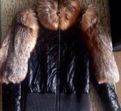 Кожаная куртка с мехом лисы!