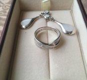 Комплект серьги+кольцо серебро и перламутр,испания