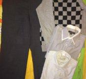 Брюки+рубашки+свитер 7-8 лет