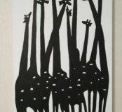 Картина, холст, жирафы.