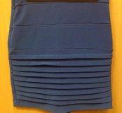 Синяя юбка-карандаш, XS