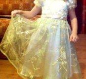 Праздничное атласное платье с вышивкой !