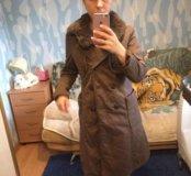 Пальто с кроличьим воротником рр 44-46