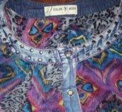 Блузка джинс+шифон