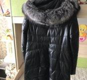Пуховик кожаный зимний