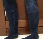 Сапоги высокие ботфорты 37 размер синие замша