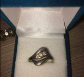 Кольцо серебро фианиты