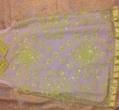 Нарядное салатовое платье, расшитое пайетками