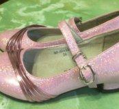 Праздничные розовые туфли для девочки, 29 размер