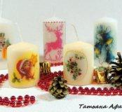 Новогодние свечи ручной работы