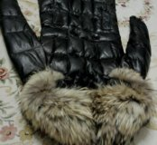 Новое! Кожанное пальто пуховик