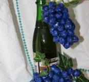 Новогодний виноград на бутылку из конфет