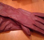Кожаные удлиненные перчатки