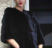 Норковая шуба модель Шанель чёрный брилиант