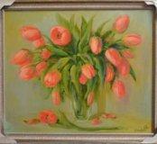"""Картина маслом """"Букет тюльпанов"""""""