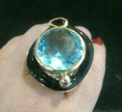 Кольцо - эксклюзив, позолота, 999 золото, 24 кар.