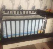 Детская кроватка+матрас+бортики