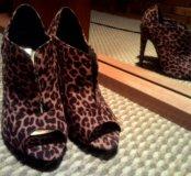 Туфли с открытым носом леопард