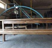 Стол и лавки деревянные