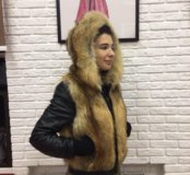 Зимняя куртка : кожа, лиса